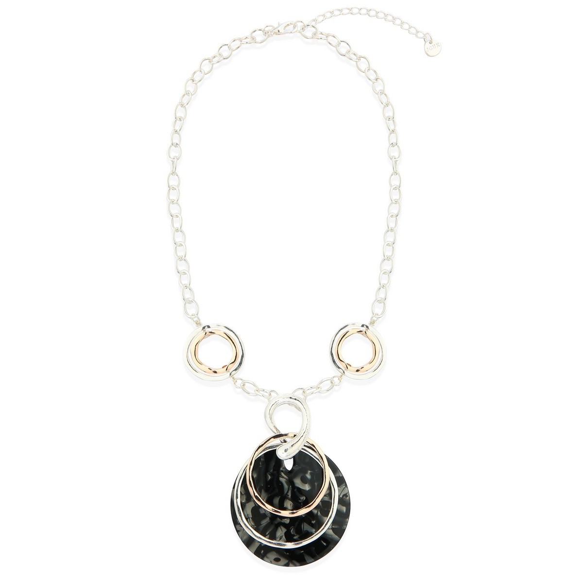 Black Mother of Pearl Disc Necklace