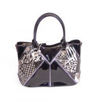 Black Patent Animal Print Handbag
