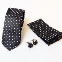 Black and Silver Diamond Tie Set