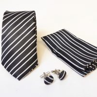 Black and Silver Stripe Tie Set