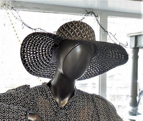Black and White Wide Brim Hat