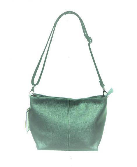 Green Leather Grained Shoulder Bag
