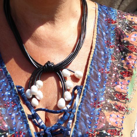 Black Corded Fresh Water Pearl Necklace