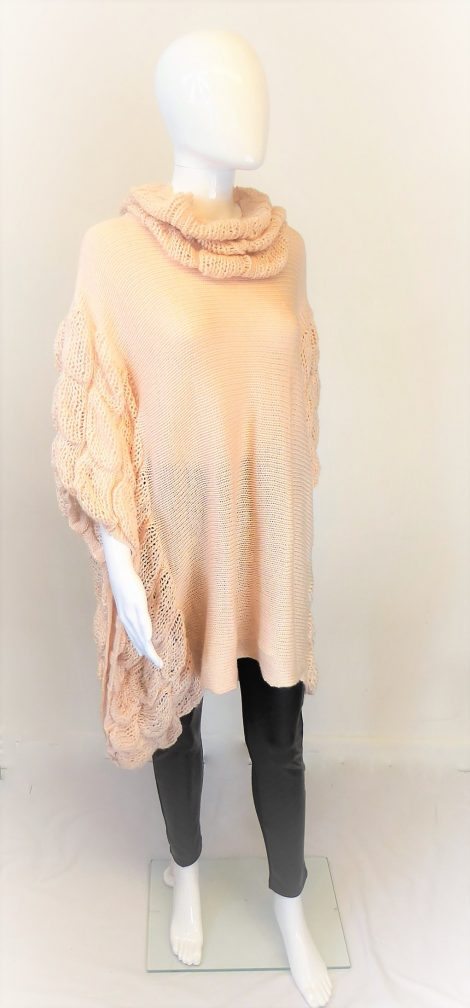Peach Loose Knit Ruffle Poncho