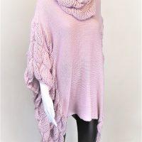 Pink Loose Knit Ruffle Poncho