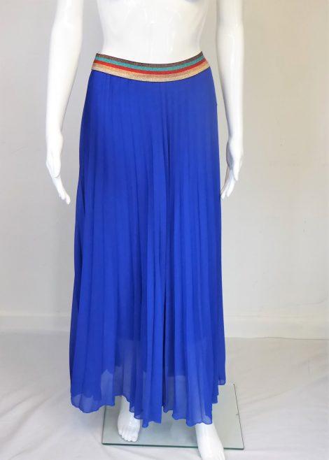 Royal Blue Long Pleated Skirt