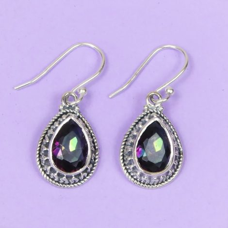 925 Silver Mystic Quartz Dangley Earrings