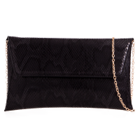 Black Snakeskin Clutch Bag