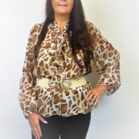 Brown Pussy Bow Blouse