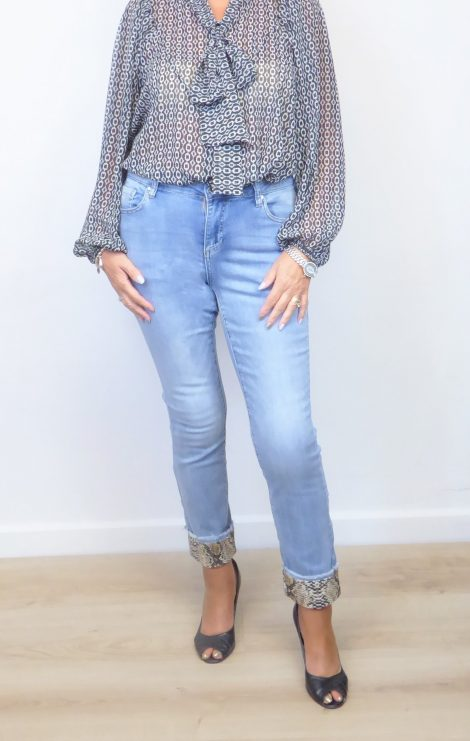 Denim Snake Crop Jeans