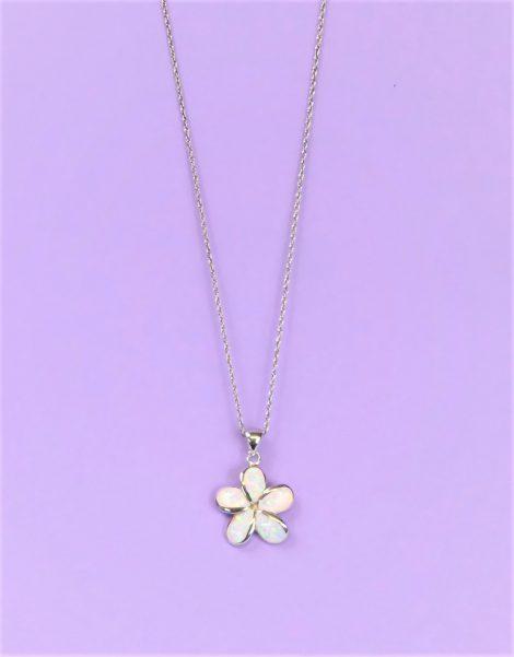 925 Fire Opal Flower Necklace