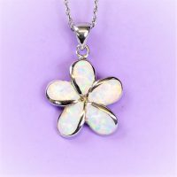 925 Fire Opal Flower Pendant