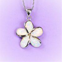 925 Fire Opal Flower Pendant