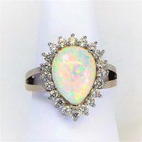 925 Silver Fire Opal Ring