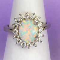 925 Silver Oval Fire Opal Ring