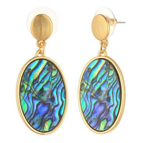 Gold Oval Frame Drop Earrings