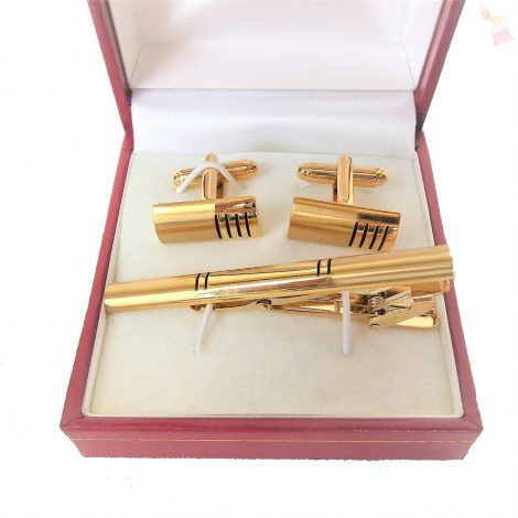 Gold Tie Pin and CuffLink Set