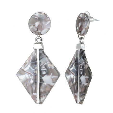 Grey 3D Dangley Earrings