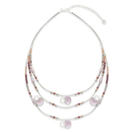 Purple Bead 3 Strand Necklace