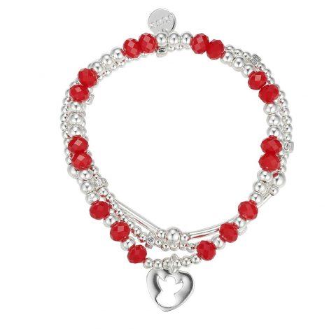 Silhouette Angel Stretch Beaded Charm Bracelet