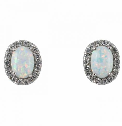 925 Opal Oval Earrings