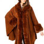 Brown Fur Poncho Cape
