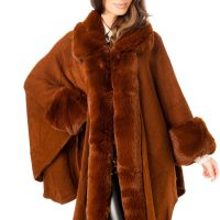 Brown Fur Poncho Cape