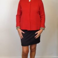 Red Knit Diamante Jacket