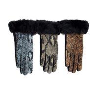 Snakeskin Black Fur Gloves