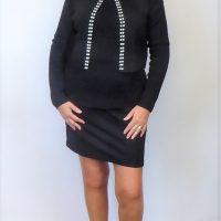 Black Knit Pearl Jacket