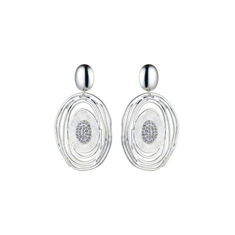 Clear Diamante Silver Earrings