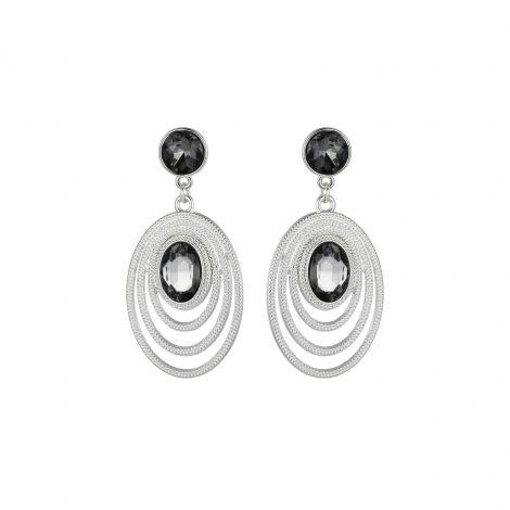 Grey Diamante Silver Earrings