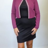 Purple Knit Pearl Jacket