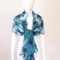 Teal Rose Lurex Scarf