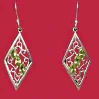 925 Peridot Diamond Earrings