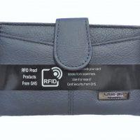Blue Genuine Leather RFID Purse
