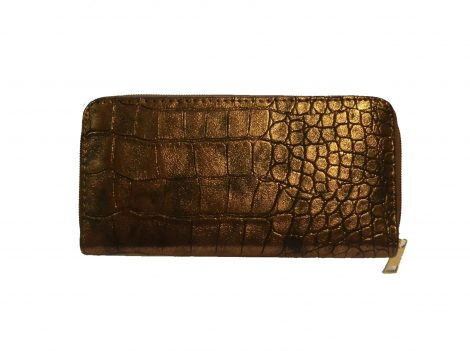 Bronze Metallic Croc Purse