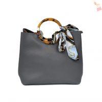 Grey Faux Leather Handbag