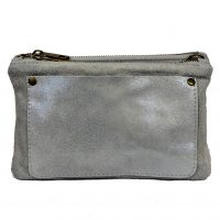Grey Metallic Clutch Bag
