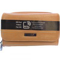 Tan Leather RFID Purse