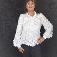 White Organza 3D Blouse