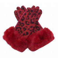 Red Leopard Fur Gloves