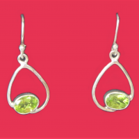 925 Peridot Oval Earrings