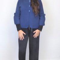 Blue Knit Bow Jacket
