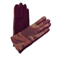 Burgundy Abstract Gloves