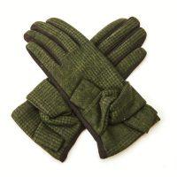 Green Tartan Bow Gloves