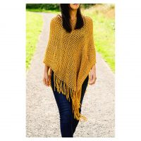 Mustard Fishnet Knit Poncho