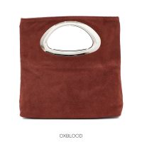 Oxblood Red Suede Clutch Bag