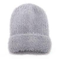 Grey Fluffy Knit Woolly Hat