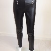 Black PVC Button Leggings